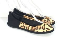 New Carlos Santana Daniela Calf Hair Leopard Black Suede Leather Ballet Flats 9M
