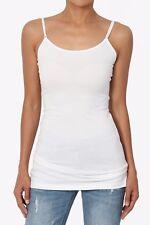 TheMogan Women Adjustable Spaghetti Strap Stretch Cotton Long Cami Tank Top S~3X