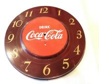 "Vintage Mid Century Coca Cola Metal Clock Sign 18"" Round Brown Red No Clock"