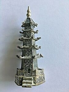 1900s CHINA CHINESE SOLID SILVER PAGODA WITH MINI BELLS AND HALLMARK 纯银