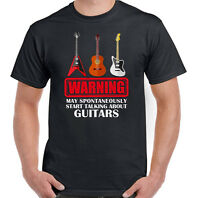 Guitar T-Shirt Acoustic Electric Bass Warning May Start Talking About Mens Funny