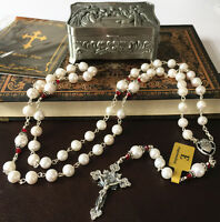 AAA8-9mm Natural Real Pearl Beads Catholic Sterling Silver Rosary NECKLAC Cross