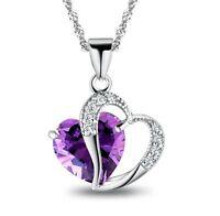Elegant Women's Silver Purple Gemstone Heart Pendant Crystal wedding Jewelry New