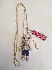 Betsey Johnson Crystal Blue Enamel Overalls Bear Pendant Sweater Necklace-BJ6604