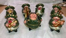 Vintage Mexican Chalk Ware Mariachi Band Hand Painted Figurines (7 Piece)