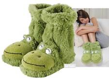 Aroma Home Fun For Feet FROG Slipper Socks Plush Green Fur Slipper Boots UK 3-7