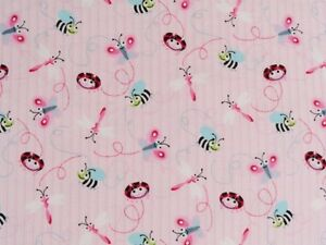 CRIB SHEET /FITTED / FLANNEL - DRAGONFLYS LADYBUGS  BUMBLEBEES ON PINK & BLUE