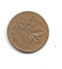 Canadá 1964 moneda de un centavo imagen de Arce + QEII; buena CIRCULADO
