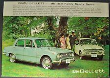 1965-1966 Isuzu Bellett Sales Brochure Sheet Sedan Nice Original