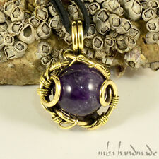 Amethyst Crystal Sphere Necklace Antiqued Brass Wire Wrapped Natural Gemstone
