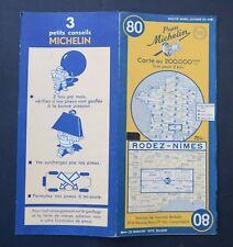 Carte MICHELIN old map n°80 RODEZ NIMES 1950 Guide Bibendum pneu tyre