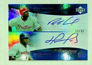 2005 UD Dual Signatures Ryan Howard/David Ortiz Blue Parallel #RHDO #12/35