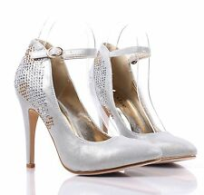 Silver Pointed Toe Rhinestones Sexy Dress High Heel Womens Shoes Size 6