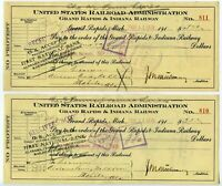 2 checks US RR Administration Grand Rapids & Indiana Railway / AT&N RR 2/14/1919
