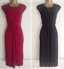 NEW EX MONSOON SERENA EMBELLISHED PARTY COCKTAIL DRESS BLACK RED SIZE 8 - 20