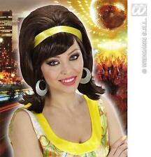 Ladies Brown Behive Wig With Yellow Headband Austin Powers Diva Disco  Fancy Dre