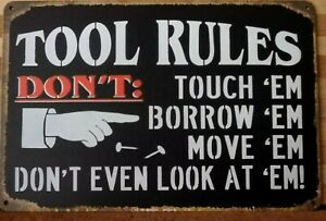 TOOL RULES Metal Tin Sign Vintage Retro Shed Garage Bar Man Cave Wall Plaque