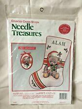 NIP Needle Treasures HOLLY BERRY BEAR Count CROSS STITCH Christmas Stocking Kit