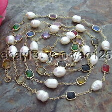 S082601 64'' 15mm White Pearl Crystal Chain Necklace