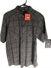 size large nwt the north face grey orange plaid short sleeve button front shirt