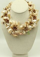 N15032807 brown shell FW pearl flower necklace earrings set