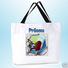 grand cabas sac shopping sac de plage  fond large personnalisé  prénom réf 06