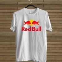 NEW RED BULL ENERGY DRINK LOGO WHITE T-SHIRT TEE USA SIZE EM1