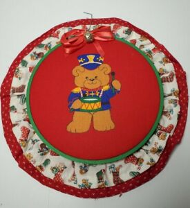 Handmade Christmas Red Quilted Hoop Wall Art with Teddy Bear Vintage