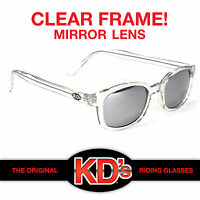 KD's Original Clear Frame Mirror Lens Sunglasses KD Motorcycle Riding Glasses