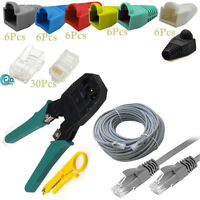 30m RJ45 Ethernet Network Cat5e Cable/Connectors/Boots/Cutter/Crimping Tool Kit