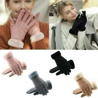 Touch Screen Gloves Women Winter Warm Suede-lined Full Finger Gloves Windproof