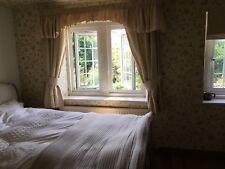 Laura Ashley Pure Silk Curtains +Pelmet,Tieback Rail Golden cream190cmWx148cmL