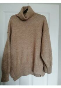 Ladies H&M Oversized Tan Camel Roll Polo Neck Jumper XS. Fit 8-12. Wool Mix.