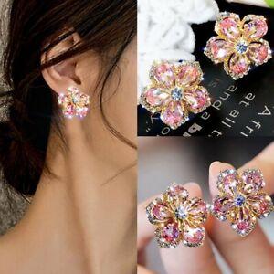 925 Silver Crystal Pink Flower Earrings Stud Zircon Charm Wedding Christmas Gift