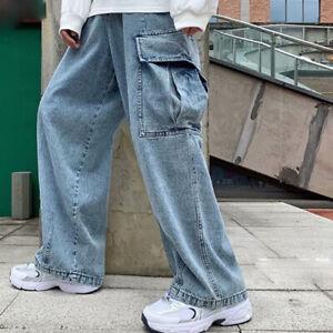 Men's Jeans Wide Leg Loose Casual Work Cargo Pants Denim Trousers Vintage Style