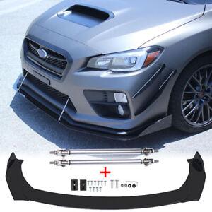 For Subaru WRX STI Legacy Impreza Front Bumper Lip Splitter Spoiler + Strut Rods