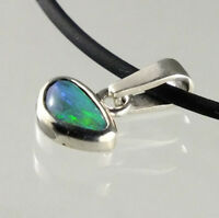 Black Opal sterling silver pendant blue green colours