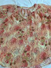 Ezra Women's Semi Sheer Floral 3/4 Sleeve Blouse Top Shirt SMALL