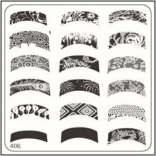 MoYou Square Image Plate 406 Vintage Style, French Manicure Stamping Template