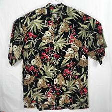 Straight Down Shirt Large Aloha Style Hawaiian Floral 100% Rayon Magnum PI Black