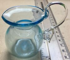 Vintage Pontilled & Hand Signed Art Glass Free Blown Aqua Glass Jug with Handle.