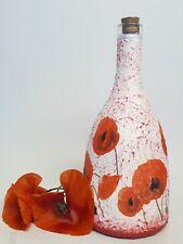 Poppy decoupage altered bottle, garrafa, handmade, handpainted giftidea