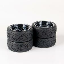 Flat Racing Rubber Tires Rims 4Pcs Set For HSP HPI 1:10 RC On-Road Car 12mm Hex