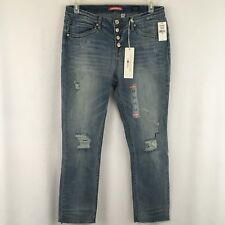 Union Bay Jeans Size 13 Presley Mid Rise Ankle Button Fly Medium Distressed NEW