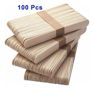 100 x Eyebrow Large Wooden Wood Disposable Spatulas Wax Waxing Sticks