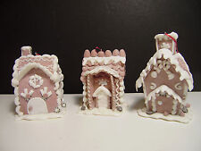 3 Gingerbread Houses Christmas Tree Ornaments stand or hang Decorations Resin