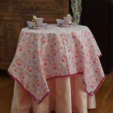 PRINCESS & HORSES Handmade Fabric Tablecloth w/Napkins X Girls Tea Parties, NEW