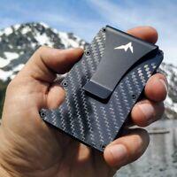 RFID Blocking Minimalist Carbon Fiber Wallet W/Money Clip-Tactical EDC Wallet