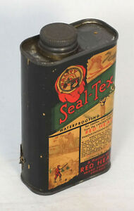 Vintage Can Red Head Seal-Tex Boot Leather Canvas Waterproofing