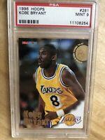 1996 Hoops # 281 Kobe Bryant Los Angeles Lakers RC Rookie HOF PSA 9